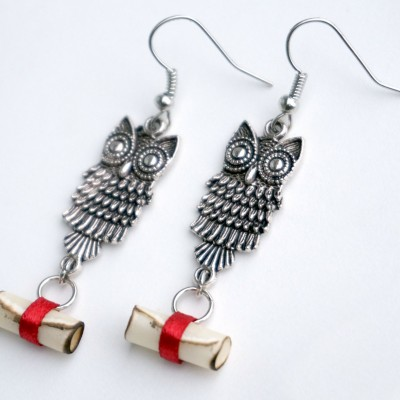 owl post earrings 1